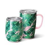Swig Life Palm Springs AM+PM Gift Set, Includes (1) 18oz Travel Mug + (1) 14oz Stemless Wine Tumbler
