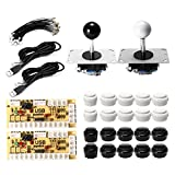 MYAMIA Botón Blanco Negro Dual Joystick USB Encoder Board DIY Set Kit para Arcade Pc Game Controller