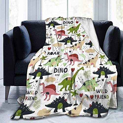 Dinosaur Blanket for Kids Boys Girls,Ancient Animal Dino Pattern Plush Fleece Throw Blanket,Cozy Microfiber Plush Fleece Cartoon Blanket for Bed Couch Sofa Chair Camping 60'X50'