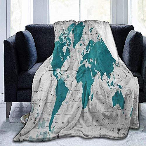 Manta de franela de madera de Ikea del Mapa del Mundo, acogedora...