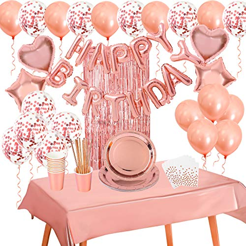 VAINECHAY Rose Gold Birthday Party Decoration Happy Birthday Banner Confetti Latex Balloons Party Supplies Disposable Party Tableware Foil Paper Plates Cups Napkins Tablecloth Fringe Curtain 10 Guests