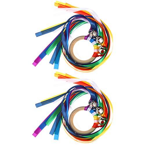 Toddmomy Juego de 2 anillos de mano con diseño de arcoíris para niños pequeños, juguete sensorial, juguete Montessori Waldorf, juguete para niños pequeños, color 1