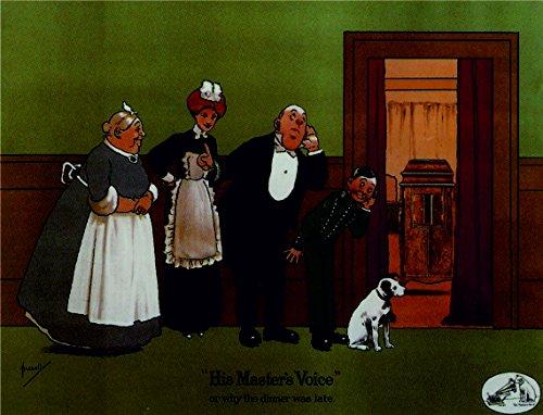 Ecool väggskylt med text His Masters Voice or why The Dinner was Late Cute Dog, retrostil, inramad, vintagestil A3
