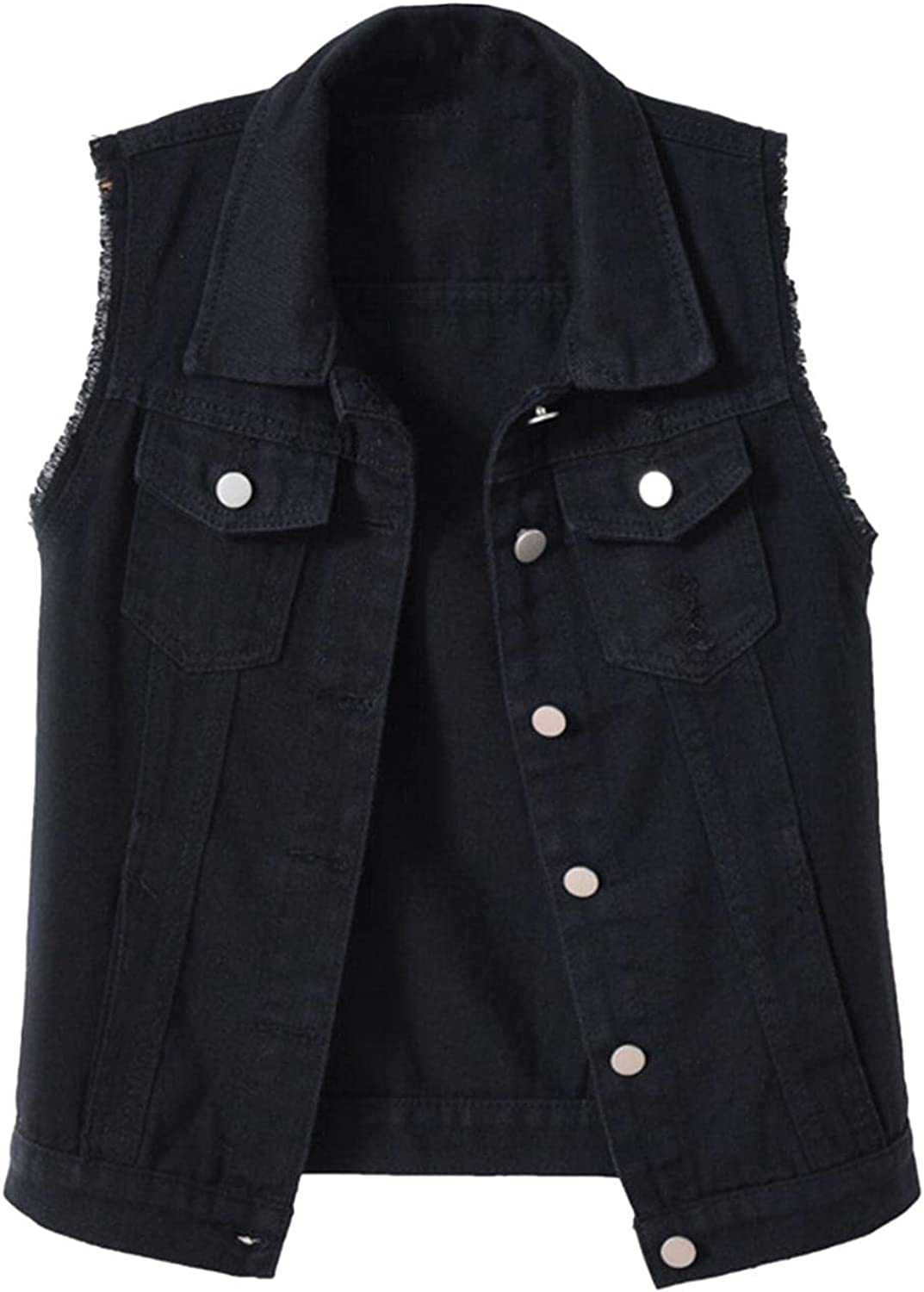 FGDJEE Vest Jackets for Women Fashion Classic Button Sleeveless Denim Shirt Casual Loose Fit Denim Jacket with Pockets