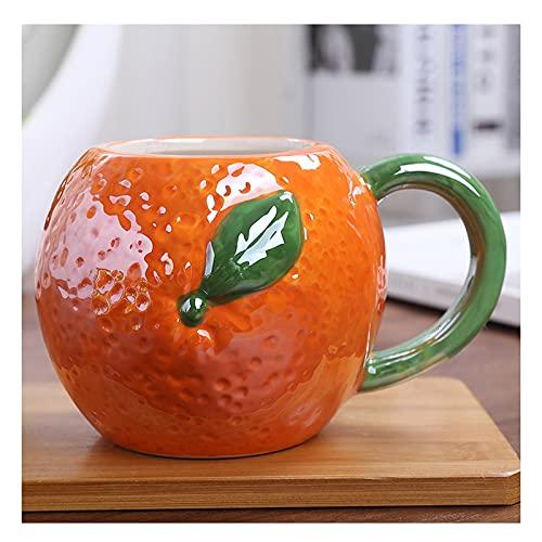 Taza De Cerámica De Frutas 3D, Taza De Café, Taza De Leche Novedosa, Taza De Viaje, 400-550 Ml, Regalos Creativos, Adecuada para La Oficina Y El Hogar 540ml / Naranja