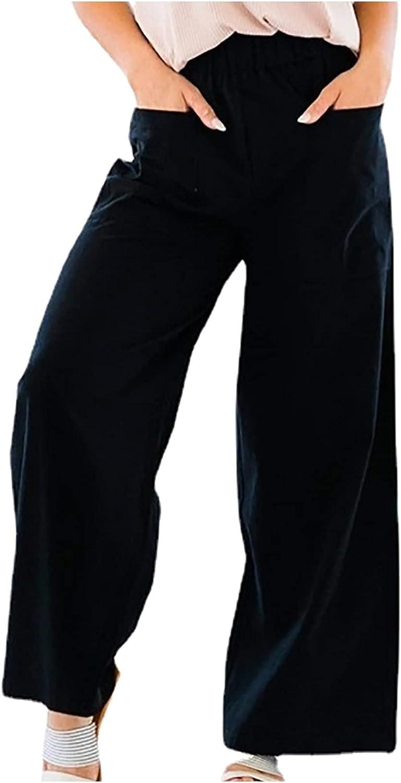 JPVDPA Women's Casual Work Office Long Trousers Lightweight Trendy Trousers Summer Loose Wide Leg Pants