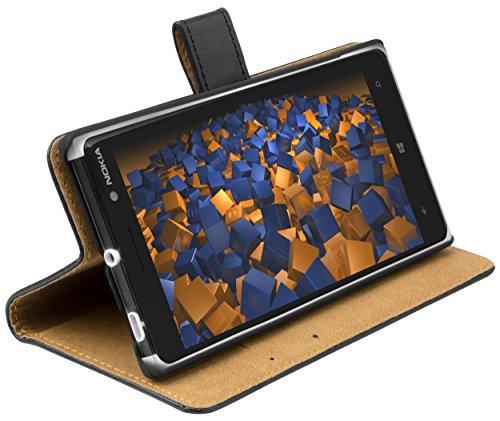 mumbi Echt Leder Bookstyle Hülle kompatibel mit Nokia Lumia 830 Hülle Leder Tasche Hülle Wallet, schwarz
