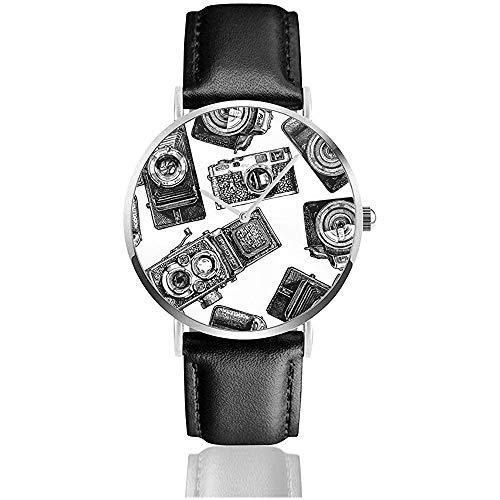 Fotokameras Cameravintage Herrenmode Sport Minimalistische Armbanduhr Lederarmbanduhr