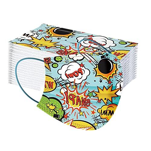 ROYIYI 50 Piezas Niños para Mascarillas Infantil de Dibujos Animados para Actividades al Aire Libre, Escuela, Fiesta, Diario, Suave con Elástico para Los Oídos (L11)
