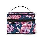 Neceser de maquillaje rosa Poppy Botanical portátil de viaje organizador maletín multifunción con doble cremallera bolsa de aseo para mujeres (9 x 6,2 x 6,5 pulgadas)