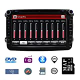 Stereo Home 8 Zoll 2 Din Autoradio Naviceiver für VW Jetta Golf Passat mit DVD CD Player GPS Navigation USB SD CANBUS FM AM RDS Bluetooth Lenkrad Bedienung 720P Video Wince 6.0 SWC 8GB...
