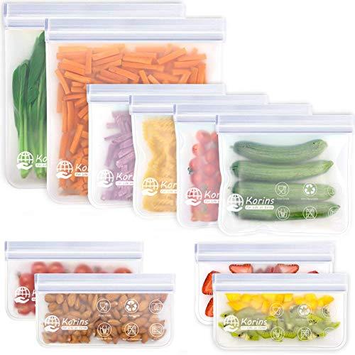 Bolsas Reutilizables para Almacenamiento de Alimentos, Bolsa Bocadillos Sándwich Merienda Porta Snacks, Bolsas de Conservación Congelador Ecológica y Reutilizable sin BPA (Blanco2+4+4)