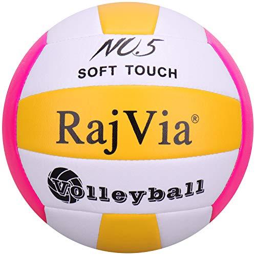 Palla da Gioco Soft Touch Pallone Volley Ufficiale Taglia 5 Indoor Outdoor Beach Gym Pelle Sintetica (Rosso Giallo)
