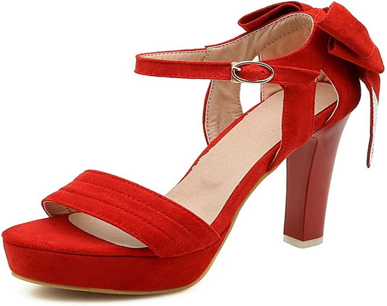 ZHZNVX Women's Synthetics Summer Sandals Chunky Heel Open Toe Rhinestone Bowknot Black Red Party & Evening