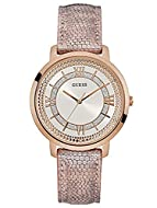 CASE DIAMETER: 40 MM CASE: STAINLESS STEEL ROSE GOLD BRACELET: PINK LEATHER IN SNAKE DIAL: WHITE, WITH SILVER GLITTER AND ROSE GOLD ROMAN NUMERALS, INDEXES, DOTS AND HANDS WATER RESISTANCE: 3 BAR