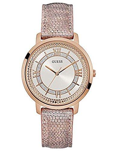 Guess Damen Analog Quarz Uhr mit Leder Armband W0934L5