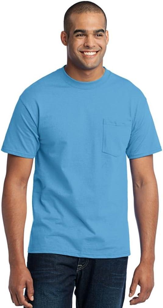 Port & Company Tall 50/50 Cotton/Poly T-Shirt with Pocket-4XLT (Aquatic Blue)