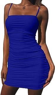 Kaximil Women's Sexy Strap Balckless Sleeveless Ruched Mini Bodycon Club Dresses