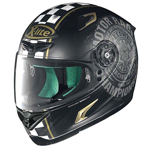 X-Lite X-802RR Cafe Club - Casco Integral para Motocicleta, Fibra compuesta, Mate, Color Negro y Dorado, Talla L