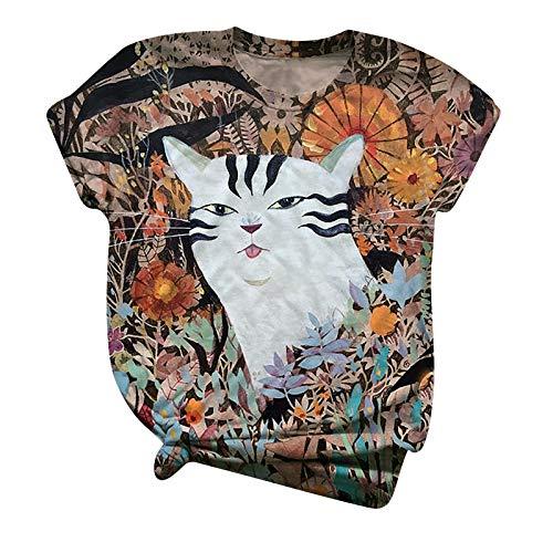 Camiseta colorida para mujer y niña, diseño de gato estampado floral, manga corta, cuello redondo, elástica, cómoda, blusa suelta (opción de 4 colores)