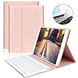 iPad Keyboard Case 9.7' 6th Generation for New iPad 2018/2017 (5th Gen) - iPad Air 2/Air 1 - Wireless Bluetooth Keyboard - Magnetic Auto Sleep/Wake (Pink with White Keyboard)