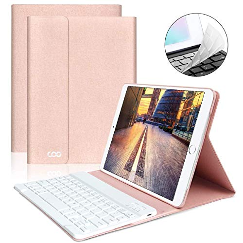 "iPad Keyboard Case 9.7"" 6th Generation for New iPad 2018/2017 (5th Gen) - iPad Air 2/Air 1 - Wireless Bluetooth Keyboard - Magnetic Auto Sleep/Wake (Pink with White Keyboard)"