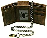 Bikers Trifold Leather Chain wallet for Men RFID safe Crazy Horse Vintage Brown Snake Texture Black J112 (Vintage Brown J112 with Chain)