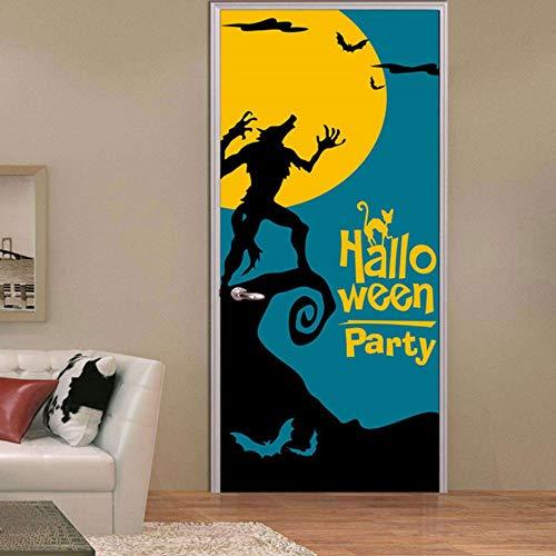 Türposter 3D Tür Aufkleber Schreckliche Werwolf Bild, Diy Kunst Kreative Dekorative Tapete Poster Vinyl Aufkleber, Wasserdicht Abnehmbare 77X200 Cm