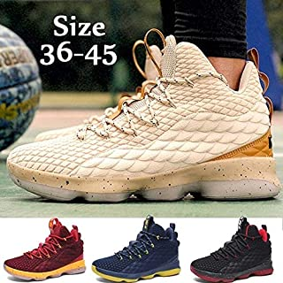 Men Basketball Shoes Women Breathable Outdoor Sports Sneakers High Top Basketball Lovers Shoes Plus Size 36-48(Black & Gold,EU43)