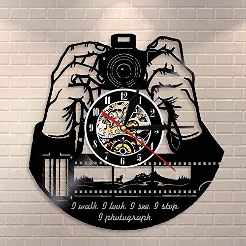 JAXU CWN 'ART Hands On Camera Foto Kamera Wanduhr Fotografen Vinyl Schallplatte Wanduhr Fotografie Studio Logo Kameramann Shutterbugs Geschenk