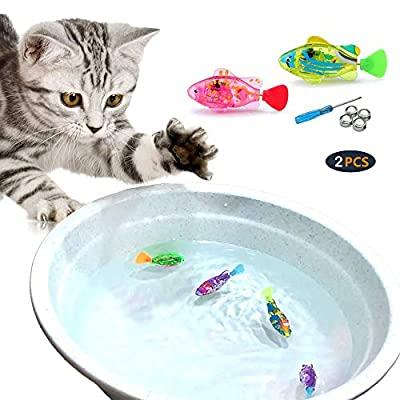 WoLover Interactive Swimming Robot Fish Toy for Cat and Dog with LED Light, Swimming Toy to Stimulate Your Pet's Hunter Instincts, Activated in Water Magical Electric Toy - 2 PCS (B Style)