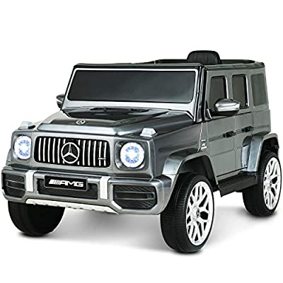 Uenjoy 12V Licensed Mercedes-Benz G63 Kids Ride On Car Electric Cars Motorized Vehicles for Girls,Boys, with Remote Control, Music, Horn, Spring Suspension, Safety Lock, LED Light,AUX, Silver Gray
