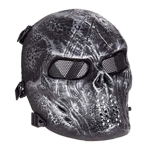 KKPLZZ Skeleton Full Face Mask, Skeleton Full Face Mask Airsoft Paintball Party Mask Outdoor Metal Mesh Eye Shield Máscara Disfraz para Halloween Party Supplies