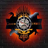 Levescale Game of Thrones Lighted Vinyl Wall Clock - Express Shipping for Boy, Man Or Woman, Decoration for Living Room - Stark Family Room Decor Unique Winterfell Art Decal Iron Throne Jon Sn (Red)