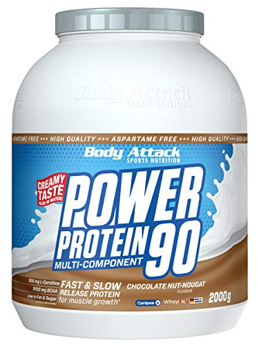 Body Attack Power Protein 90, 5K Eiweißpulver mit Whey-Protein, L-Carnitin und BCAA für Muskelaufbau und Fitness, Made in Germany (Chocolate Nut-Nougat Cream, 2 kg)