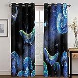 Vorhang Blickdicht Blauer Delphin-Sternenhimmel 280x140 cm 2er Set Wärmeisolierend Gardinen mit Ösen für Schlafzimmer Wohnzimmer Fenster Dekoration