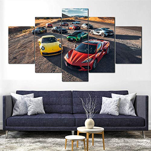 HHXXTTXS Chevrolet Ferrari Corvette Coche 5 Pieza Cuadro En Lienzo —Impresión en Lienzo Picture Artworks Arte Pared Habitación Dormitorio Moderno Decorativo 150 x 80 CM(Marco)