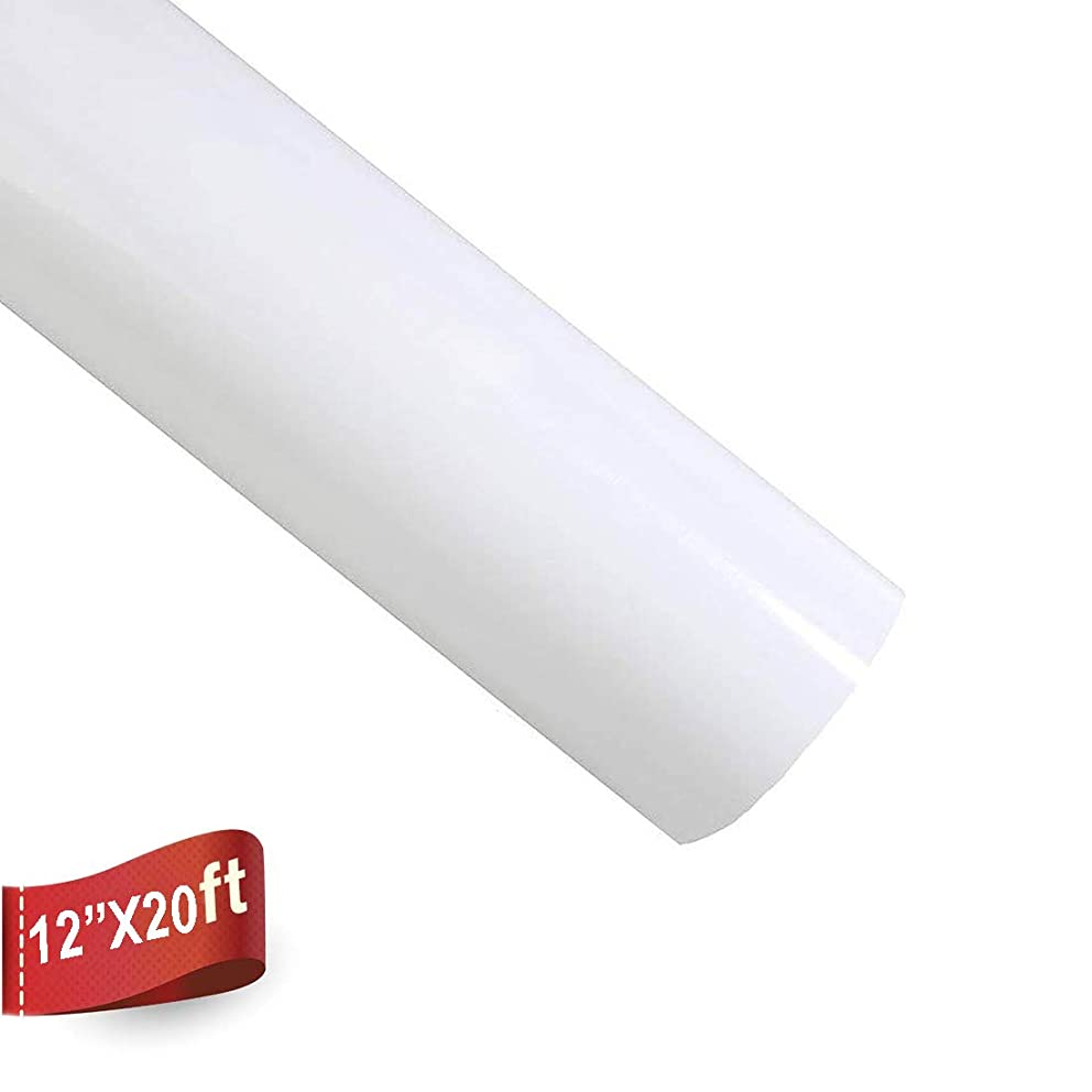 Heat Transfer Vinyl Easy to Weed Iron On HTV Rolls for T-Shirts 12 Inch by 20 Feet (White)
