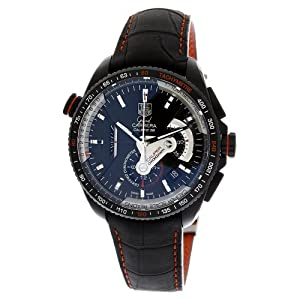 TAG Heuer Men's CAV5185.FC6237 Grand Carrera Leather Strap Chronograph Black Dial Watch Prices and For Sale and review image