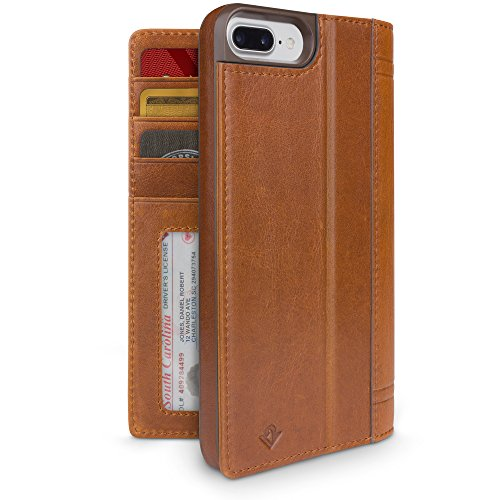 Twelve South Journal for iPhone 8 Plus/ 7 Plus/ 6 Plus, cognac | Leather Wallet Folio Case and Display Stand