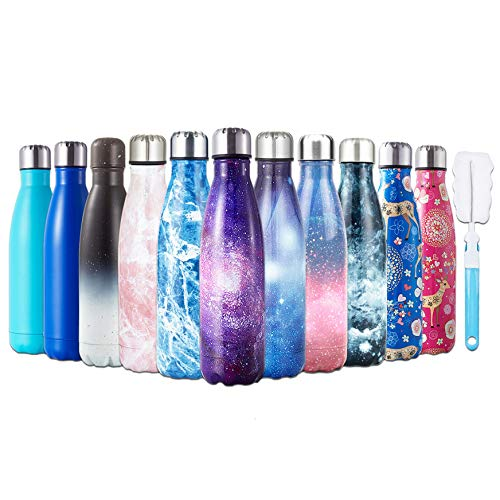 HGDGears Bottiglia Acqua in Acciaio Inox - Senza BPA, Borraccia Termica Isolamento Sottovuoto a Doppia Parete, Borracce per Bambini, Scuola, Sport, All'aperto, Palestra, Yoga (500ml, Blu Stellato)…