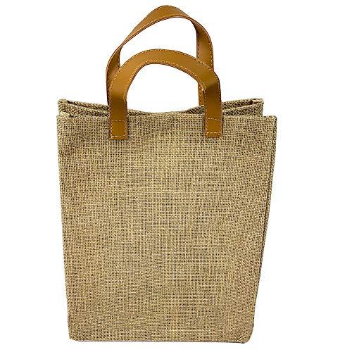 JOYEAR Natural Sackleinen Tote Bags Wiederverwendbare Jutesäcke mit vollem Zwickel, Einkaufstasche, Einkaufstasche, Einkaufstasche, Umhängetasche, große Kapazität zum Basteln und Dekorieren(Pack of 4)