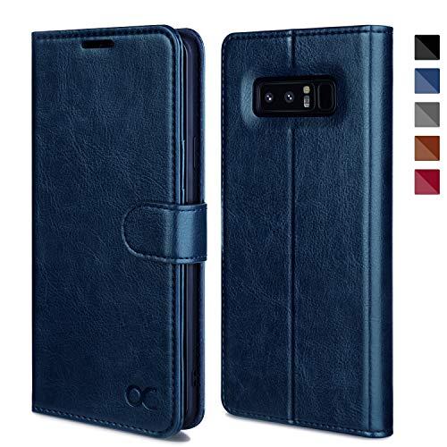 OCASE Samsung Galaxy Note 8 Hülle, Handyhülle Samsung Galaxy Note 8 [Premium Leder] [Standfunktion] [Kartenfach] [Magnetverschluss] Leder Brieftasche für Galaxy Note 8 Blau