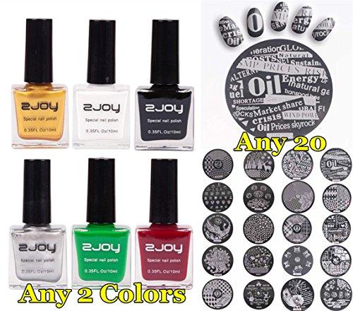 Joligel Kit Estampación Uñas, 20 Placas Estamping Uñas + Esmaltes de Estampación Elegir Cualquier 2 Colores, Estampas de Uñas Estampado Manicura Nail Art