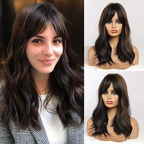 Fovermo synthetische Haarperücke ombre braun Mittelwellenperücke für Frauen Hitzebeständige Faser Täglich falsches Haar