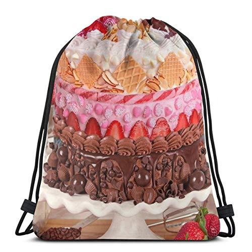 EU Zuckerguss auf der Kuchen-Sporttasche für Frauen Männer Kordelzug Rucksack 36 x 43 cm / 14,2 x 16,9 Zoll