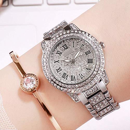 GPWDSN Relojes para Mujer Reloj de señora de Moda Correa de Oro Rosa Vestido Femenino Reloj para niñas Movimiento de Cuarzo Impermeable Un dial (Color: C)