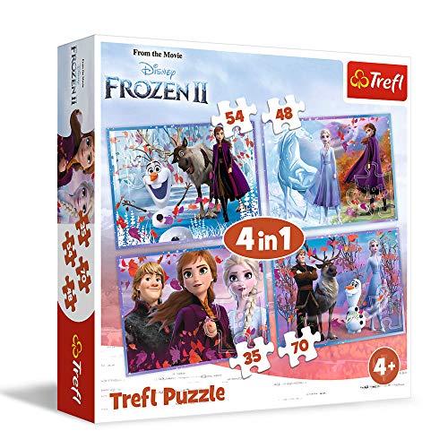 Trefl TR34323 Eine Reise ins Unbekannte, Disney Frozen 2 von 35 bis 70 Teilen, 4 Sets, für Kinder ab 4 Jahren Puzzlebox, Mehrfarbig