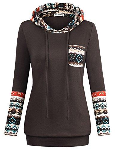 SUNGLORY Hoodies,Women's Oversize Sweatshirts Color Block Loose Pullover Tops Coffee