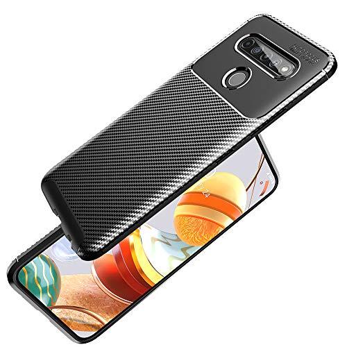 NALIA Design Hülle kompatibel mit LG K61 Hülle, Ultra-Slim Carbon Erscheinungsbild Stylische Handyhülle Stoßfeste Silikon Schutzhülle, Dünne Handy-Tasche Phone Cover Bumper Soft Skin TPU Etui Kratzfest - Schwarz